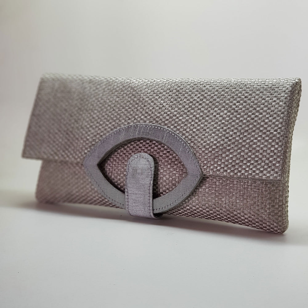 Jute Extendable Clutch Silver