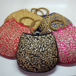 Silk Handbag with Bangle Handle