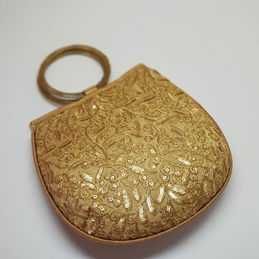 Silk Handbag with Bangle Handle Gold