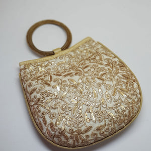 Silk Handbag with Bangle Handle Off White