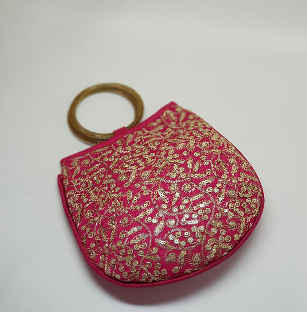 Silk Handbag with Bangle Handle Pink