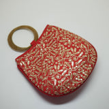 Silk Handbag with Bangle Handle Red