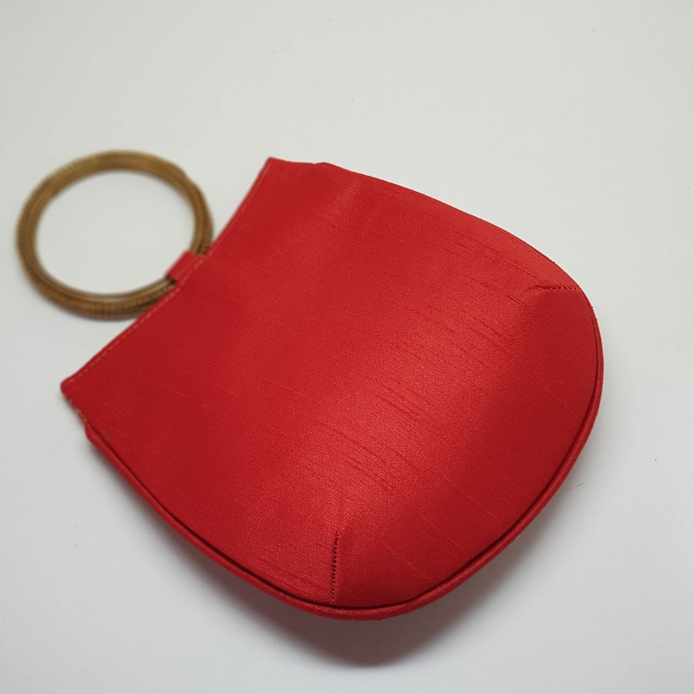 Silk Handbag with Bangle Handle Red back view