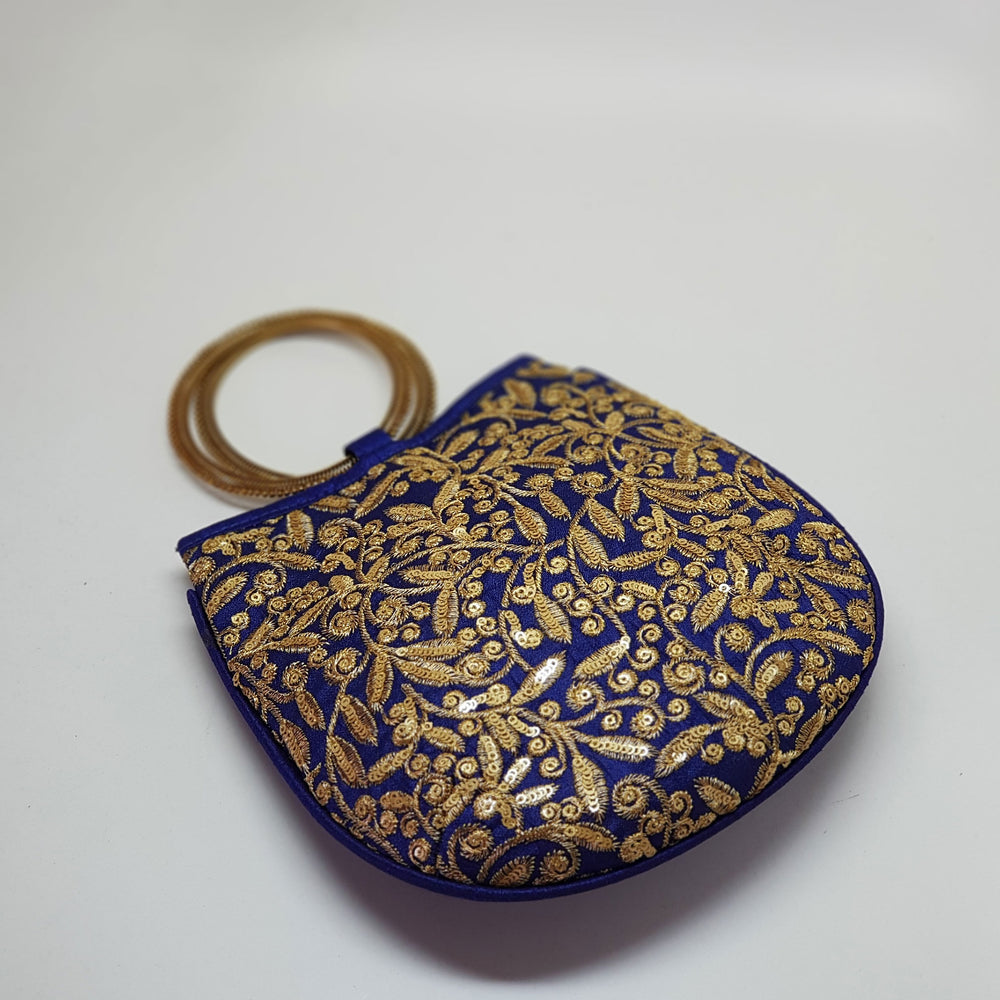 Silk Handbag with Bangle Handle Royal Blue