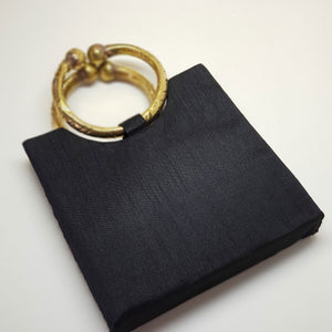 Silk Bag with Anklet Designed Handle Black