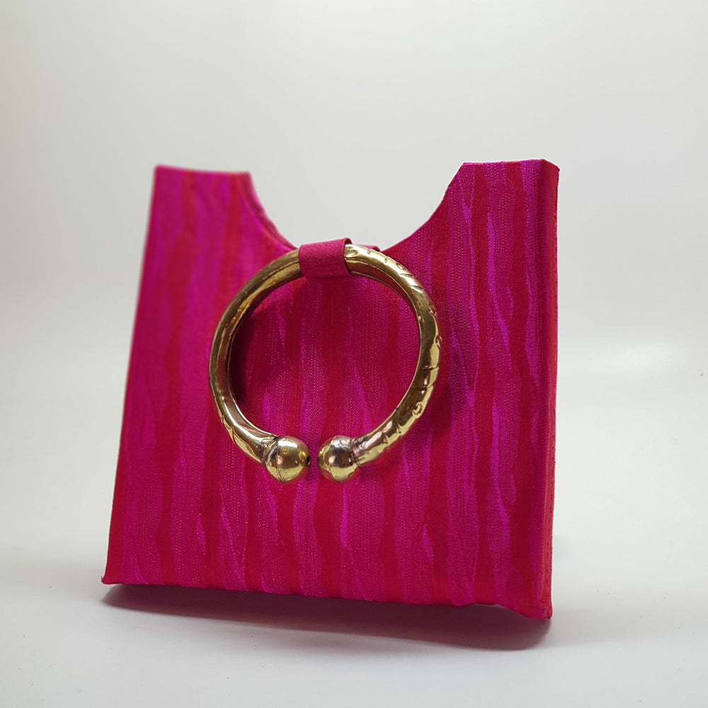 Silk Bag with Anklet Designed Handle Pink