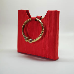 Silk Bag with Anklet Designed Handle Red