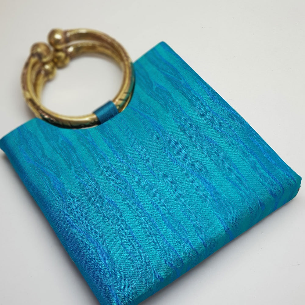 Silk Bag with Anklet Designed Handle Teal