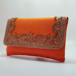 Silk Clutch with Antique Gold Embroidery Orange