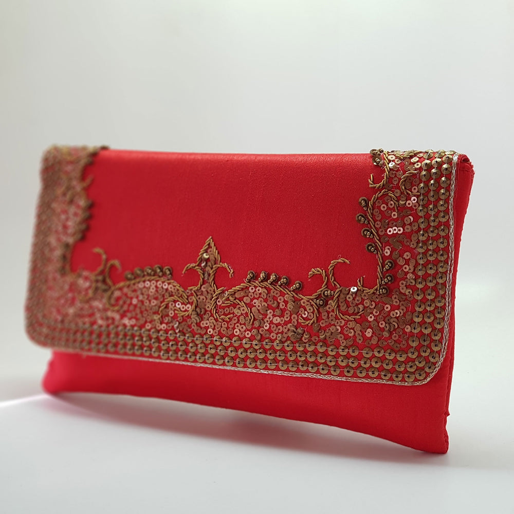 Silk Clutch with Antique Gold Embroidery Red