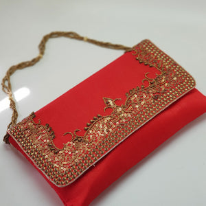 Silk Clutch with Antique Gold Embroidery Red with gold chain