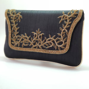 Silk Clutch with Gold Embroidery Black