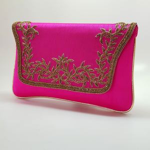 Silk Clutch with Gold Embroidery Fuchsia