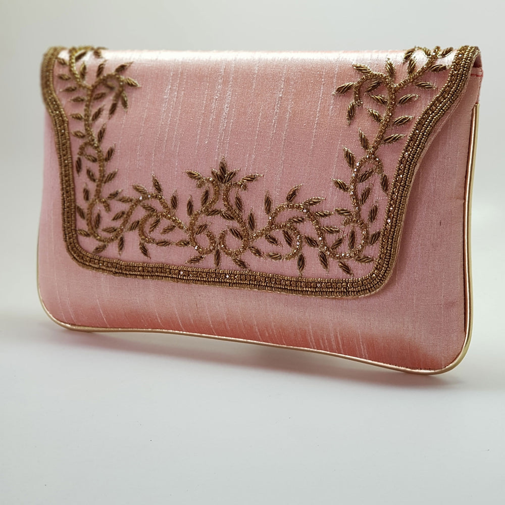 Silk Clutch with Gold Embroidery Light Pink