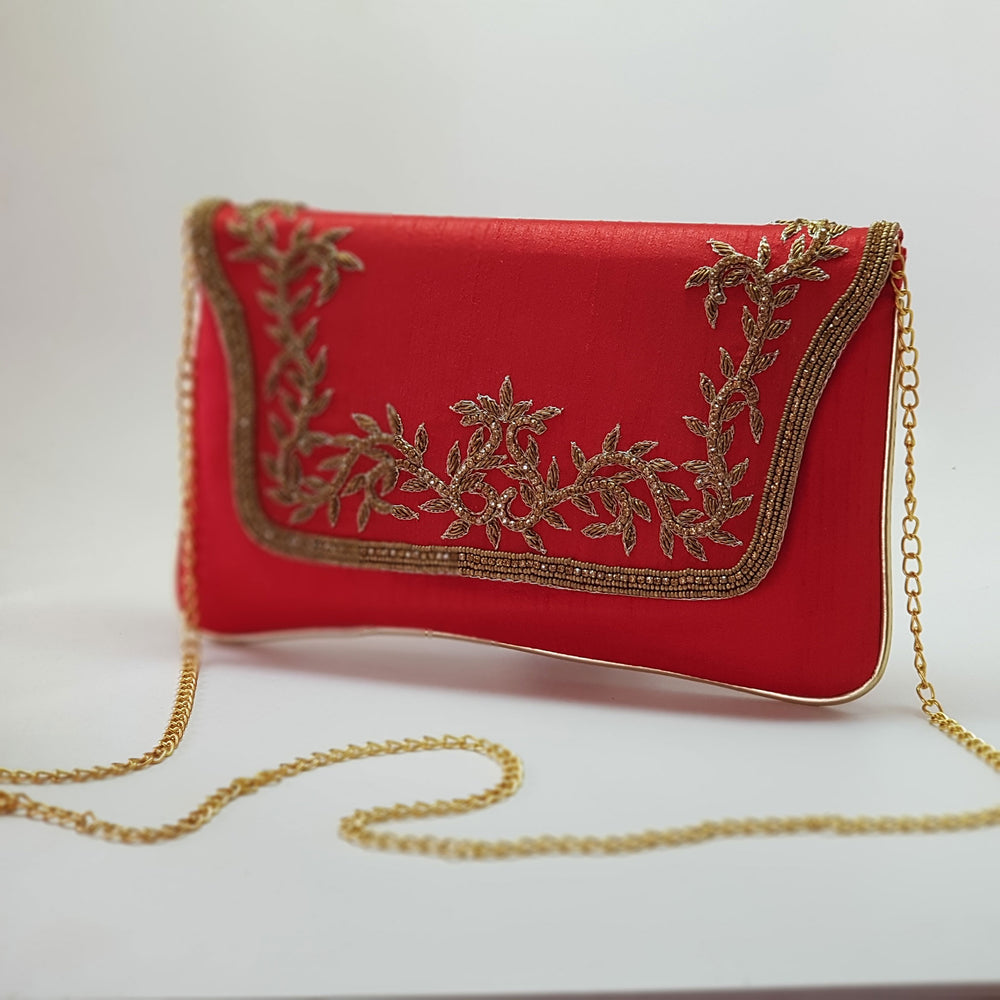 Silk Clutch with Gold Embroidery Red