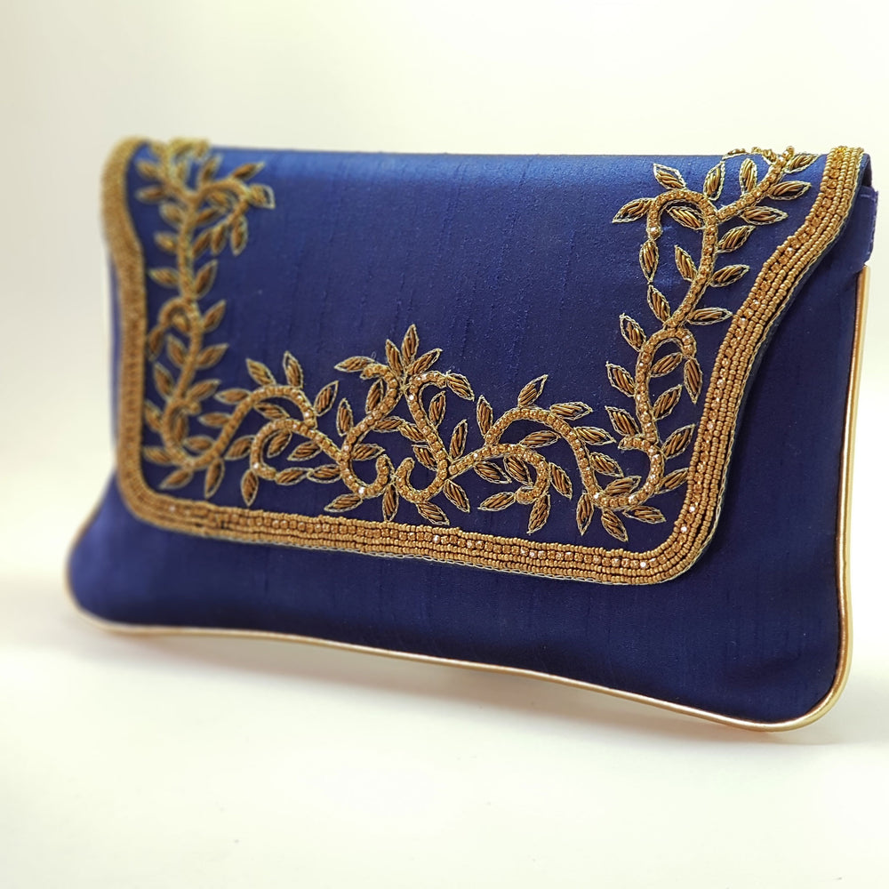 Silk Clutch with Gold Embroidery Royal Blue