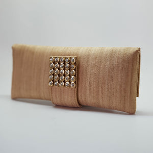 Silk Clutch with Magnetic Clasp Beige