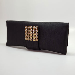 Silk Clutch with Magnetic Clasp Black