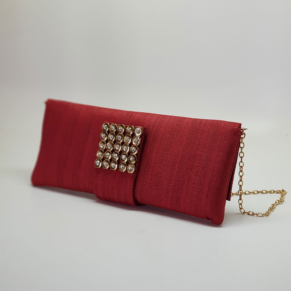 Silk Clutch with Magnetic Clasp Red
