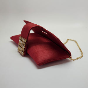Silk Clutch with Magnetic Clasp Red Open