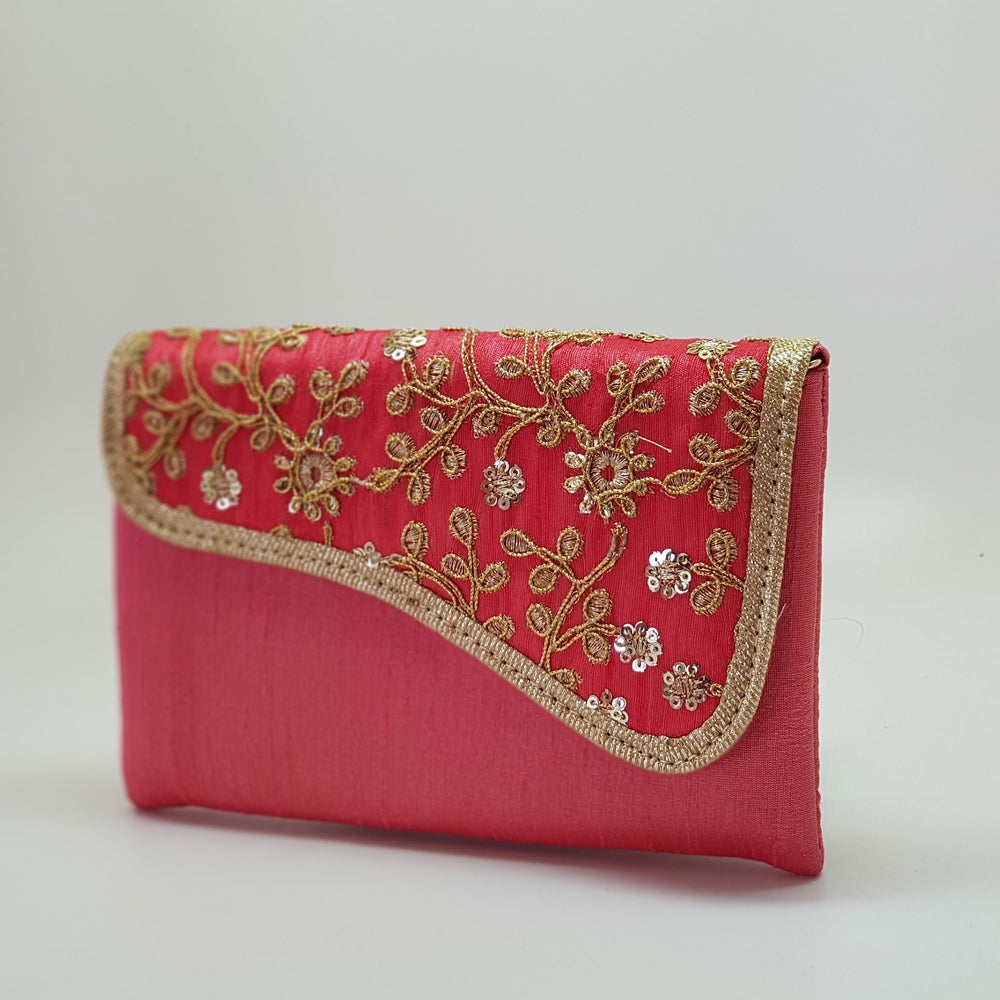 Silk Embroidered Clutch Coral