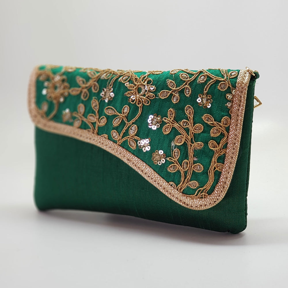 Silk Embroidered Clutch Emerald Green