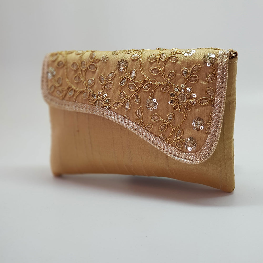 Silk Embroidered Clutch Gold