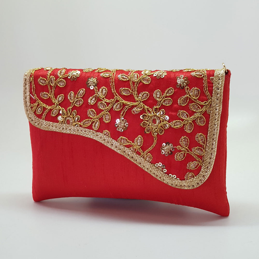 Silk Embroidered Clutch Red
