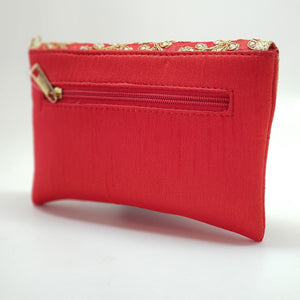 Silk Embroidered Clutch Red back view