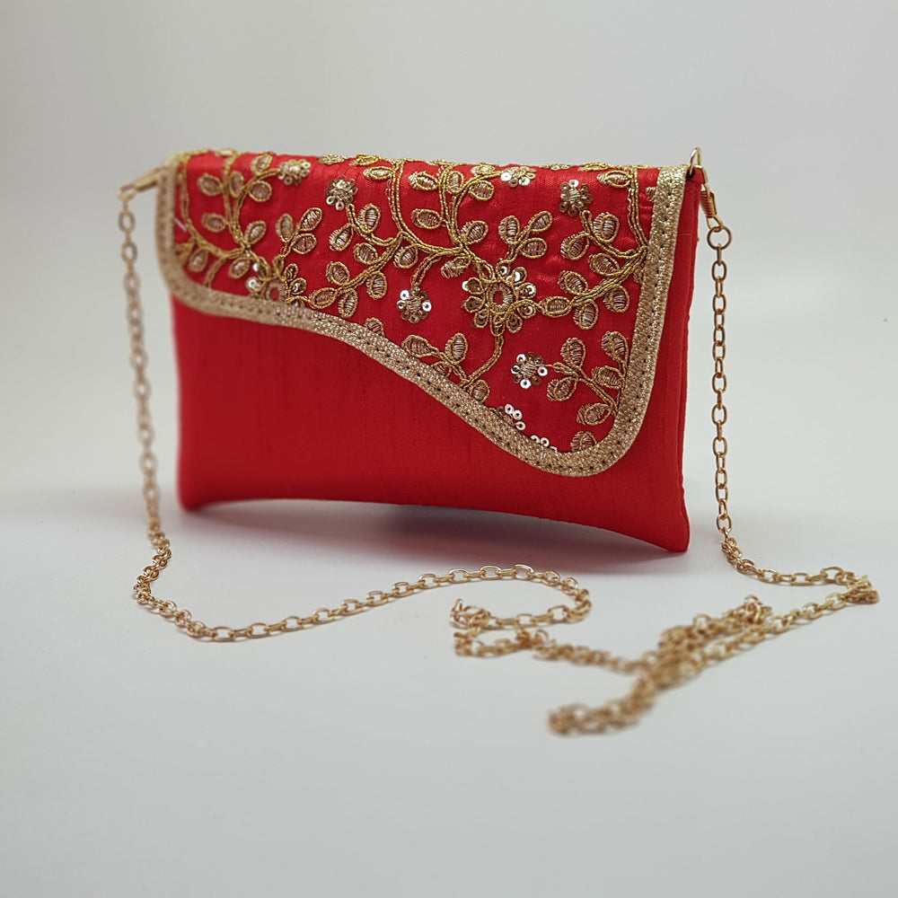 Silk Embroidered Clutch Red with gold chain