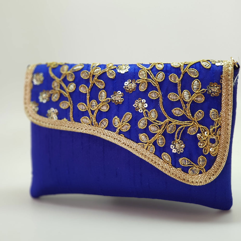 Silk Embroidered Clutch Royal Blue
