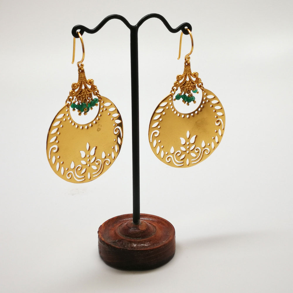 Gold Plated Disc Shaped Earrings