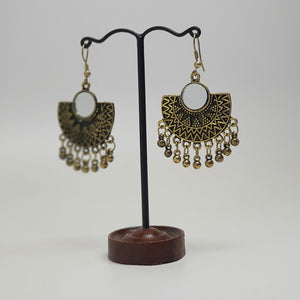 Half Moon Mirror Earring Bronze