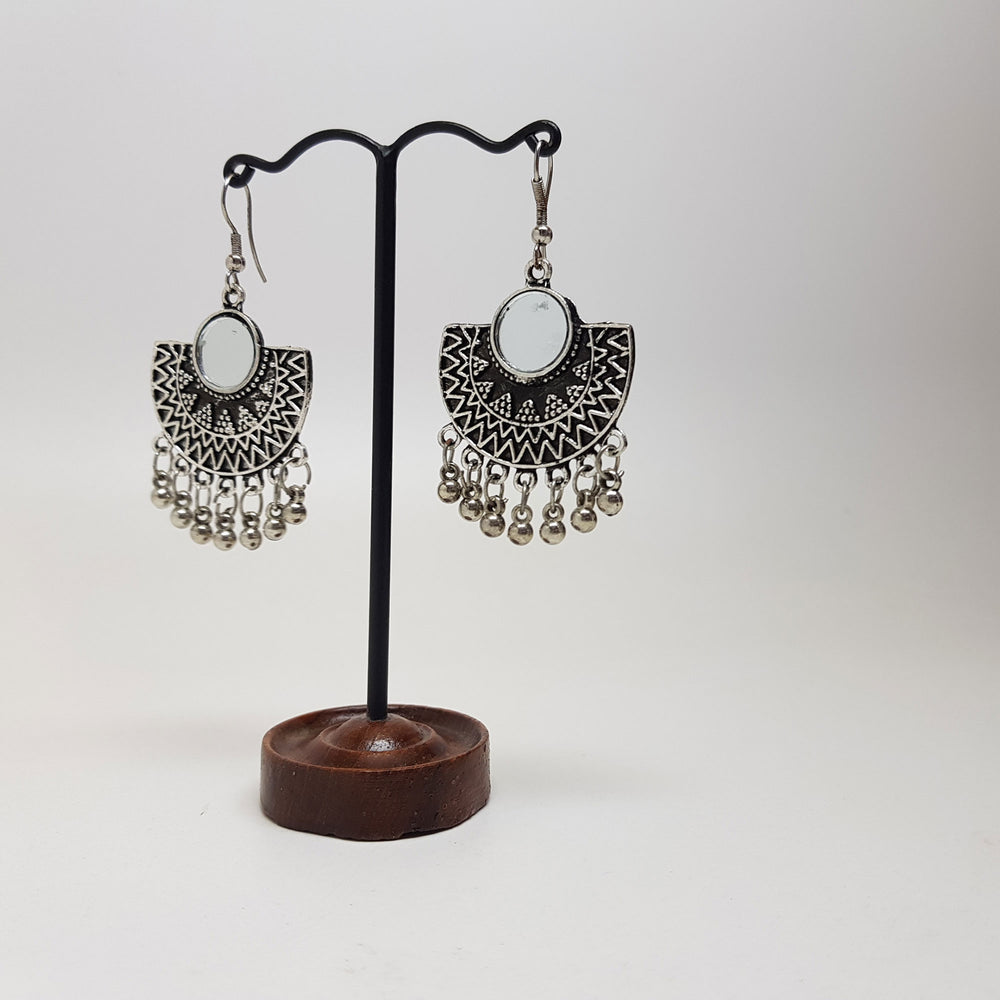 Half Moon Mirror Earring Silver