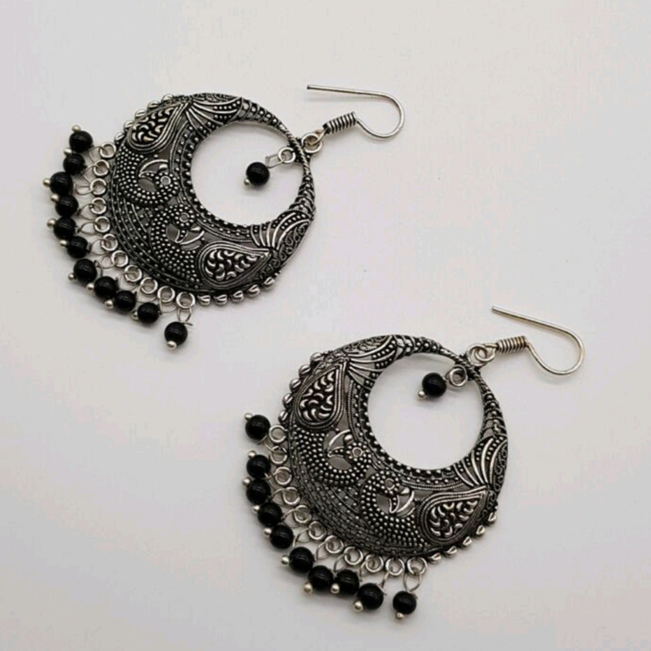 Silver tone textured Hoop earring black