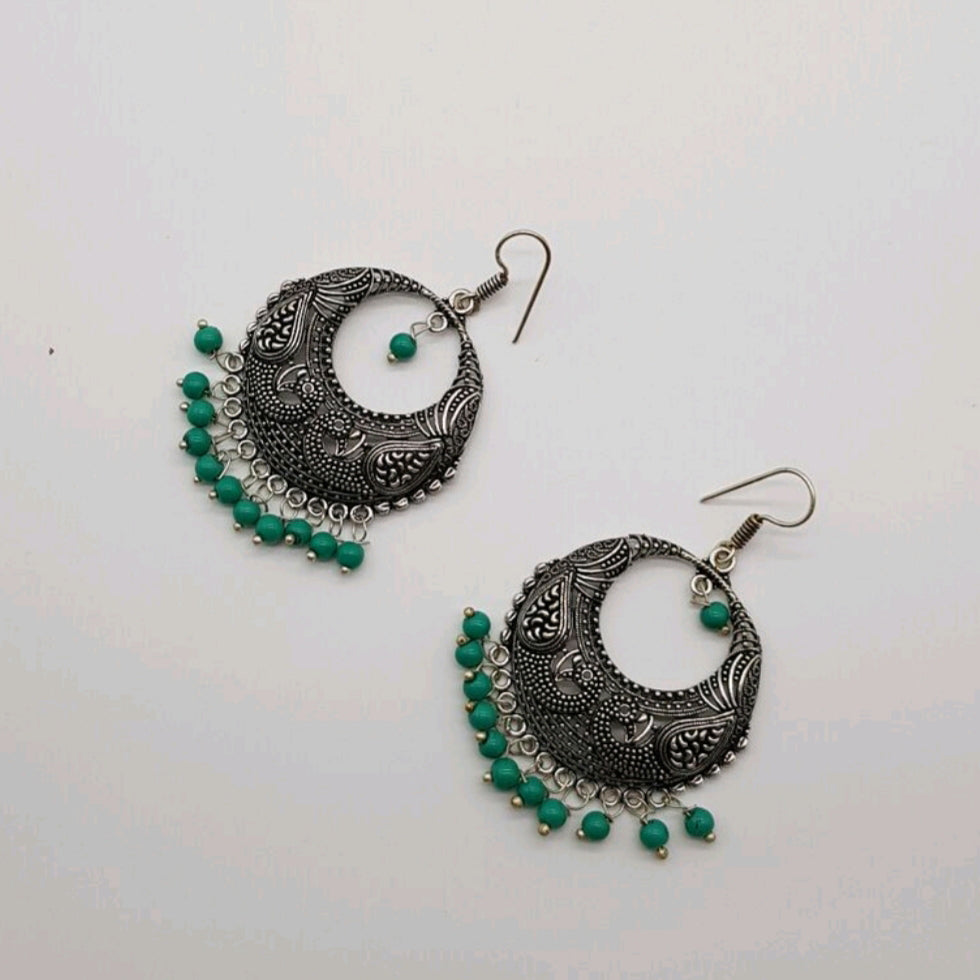 Silver tone textured Hoop earring turquoise