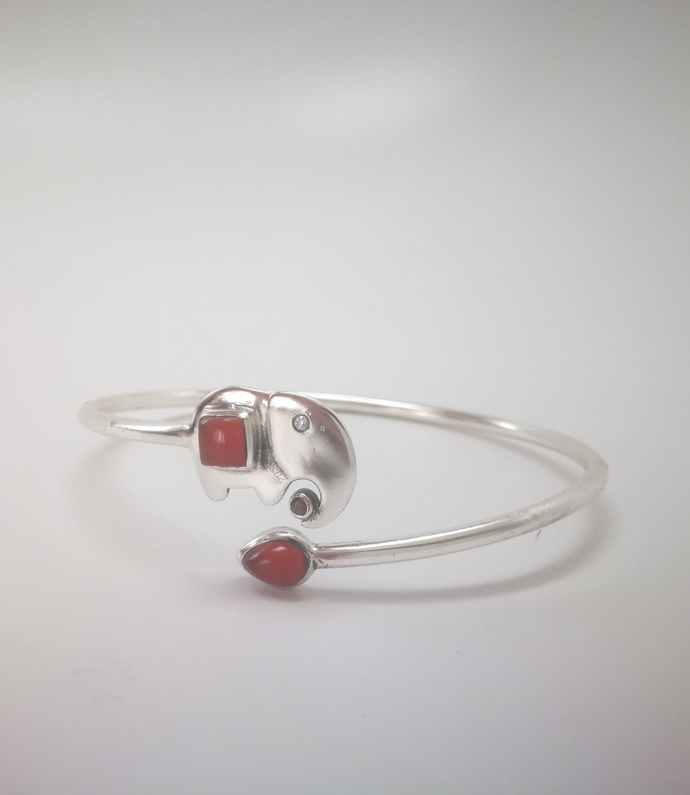 Silver Elephant Bangle with Cornelia