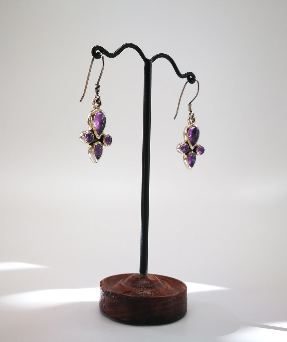 Silver Earring with Amethyst Stones