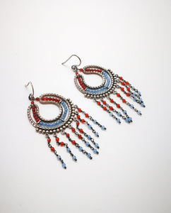 Silver Earring with Coral and Calcedony