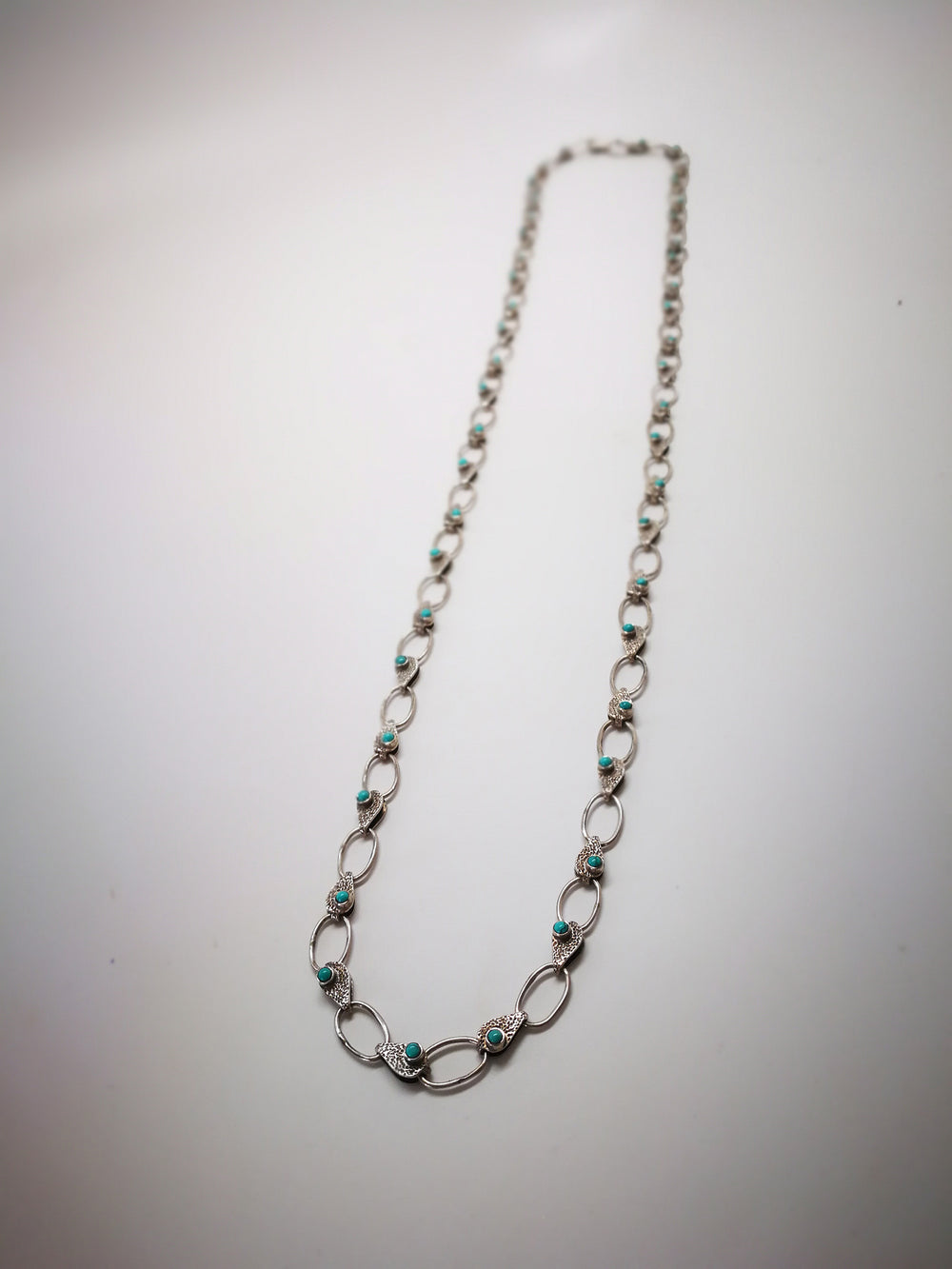 Silver Chain Necklace with Turquoise