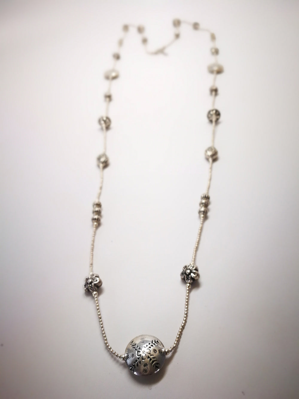 Silver Necklace with Silver Textured Beads