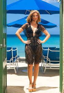 Beach Glam Swimsuit Cover Up Black