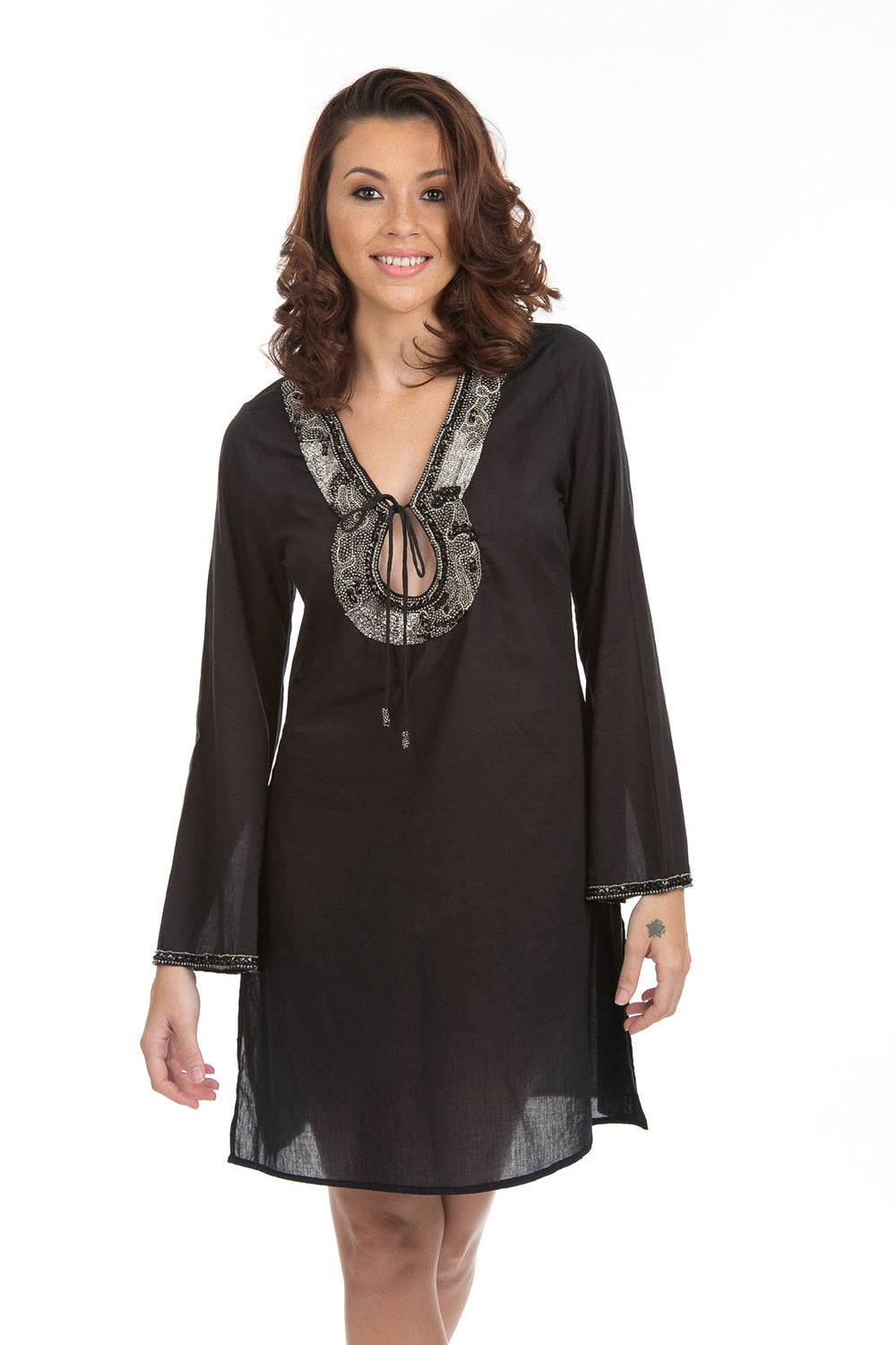 Beaded Cotton Swimsuit Cover up Tunic Black
