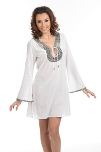 Beaded Cotton Swimsuit Cover up Tunic White