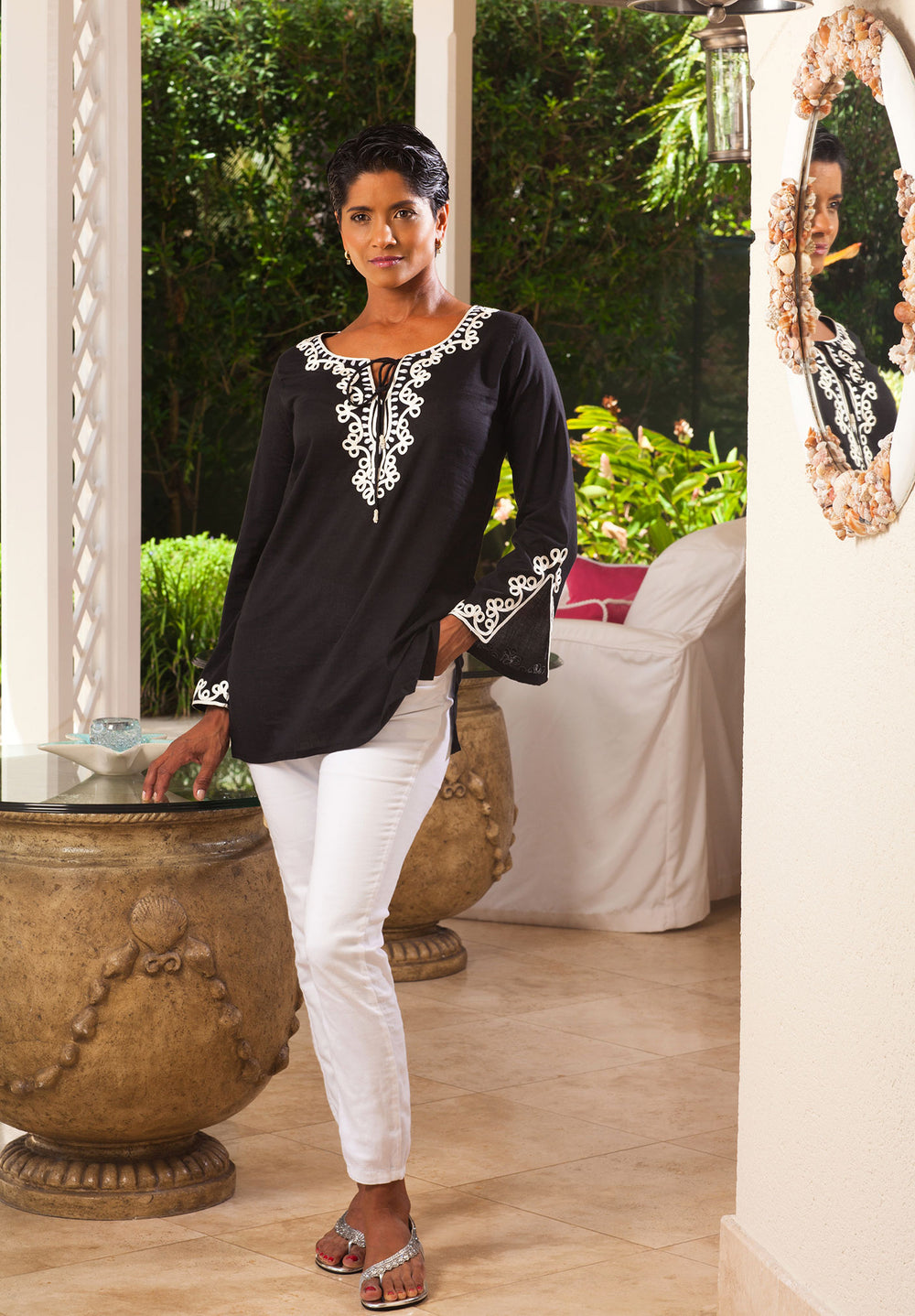 Cotton Classic Tunic black with white embroidery