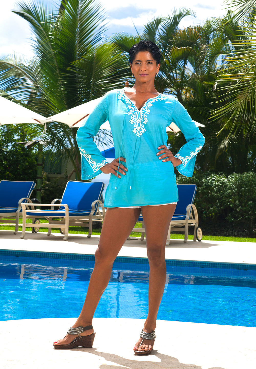 Cotton Classic Tunic Turquoise with white embroidery