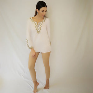 Cotton Classic Tunic White with taupe embroidery