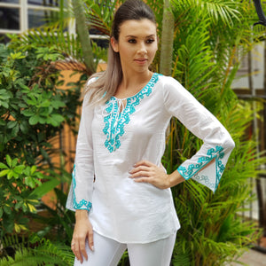 Cotton Classic Tunic White with turquoise embroider