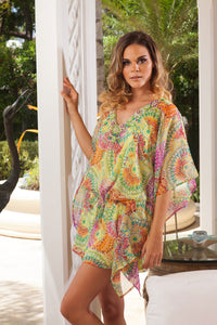 Glittery Green Short Kaftan Swinsuit Cover up