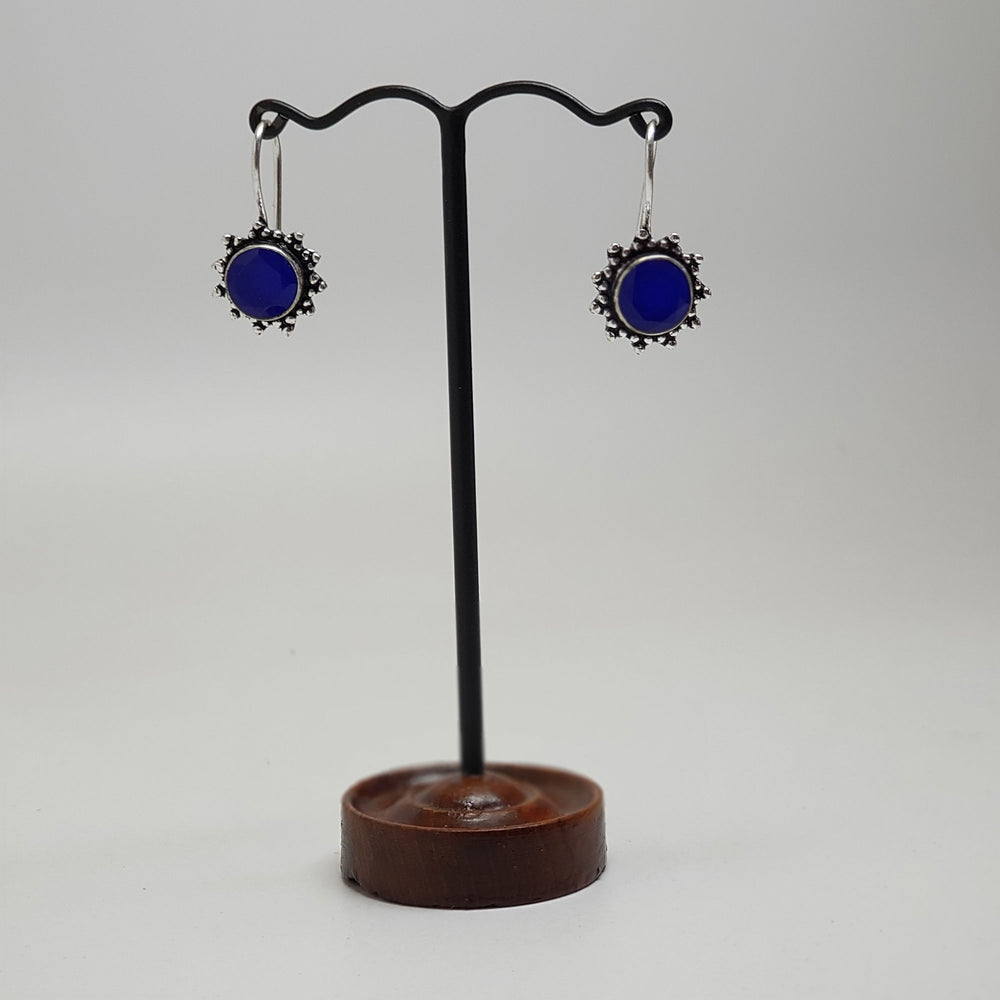 Round Hook Earring with Stone blue topaz